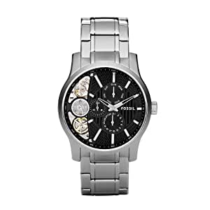Fossil Men's ME1097 Stainless Steel Bracelet Textured Black Cutaway Dial Chronograph Watch