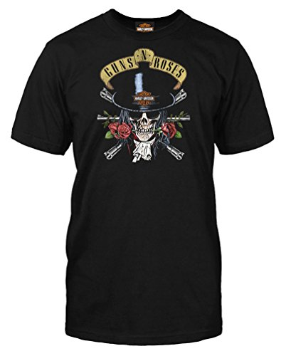 Top Short Hat Sleeve T-shirt (Harley-Davidson Men's Guns N' Roses Top Hat Short Sleeve T-Shirt, Black (M))