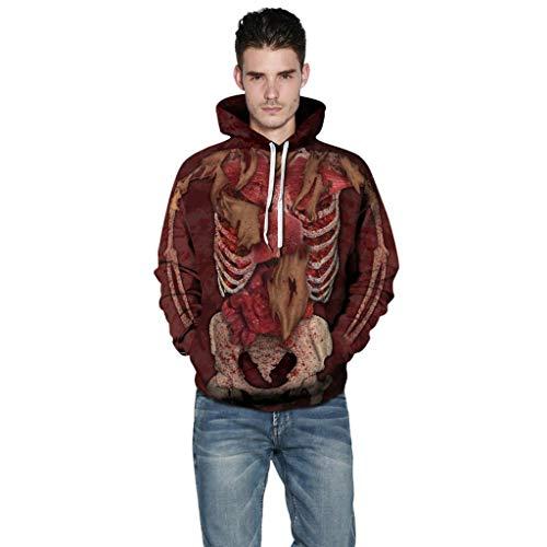 iHHAPY Halloween Hoodie Unisex Sweatshirt Long Sleeve Pullover Women Men Tops Novelty Pattern Sweatshirts 3D Print Scary -