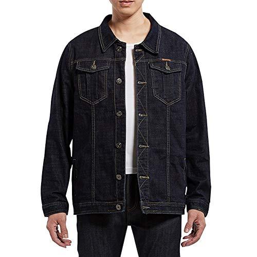 JIUHUAI Men's Denim Jacket Jean Coat Trucker Work Cowboy Heavyweight Casual Wear Western Style Big & Tall Loose for Men