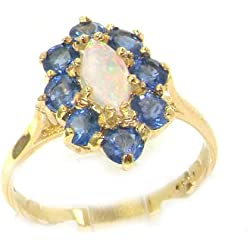 18k Yellow Gold Natural Opal and Sapphire Womens Cluster Ring - Sizes 4 to 12 Available
