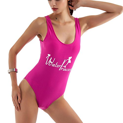 Letra de las Mujeres de impresión de la natación Backless Traje de una Pieza Traje de baño Swimwear rose red