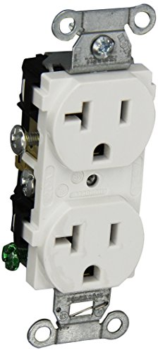 Hubbell CR20WHI Duplex Receptacle, Common Ground, 20 amp, 125V, 5-20R, White (Pack of 10) by Hubbell