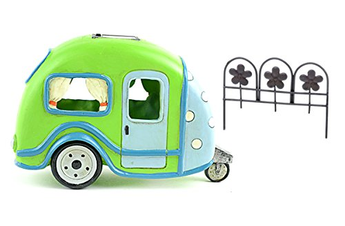 DIY - Miniature Garden Kit - Lime Green Solar Camper Trailer and Rusty Colored Fence for use in Fairy or Gnome Garden