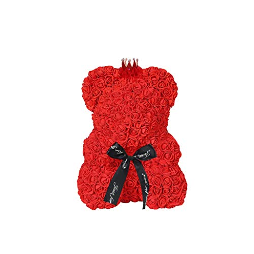 - Trigle Mother's Day Bubble Rose Bear Rose Bear Flower Teddy 9 Inch Gift for Mother,Wedding Birthday (Red)