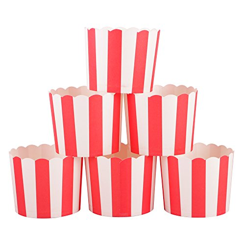 (Webake Full Size Paper Baking Cups for Popcorn Cupcake, Cupcake Bath Bomb, Muffin Case, Set of 25 (Red Stripe))