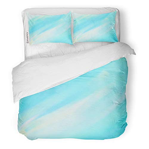 Emvency Decor Duvet Cover Set Full/Queen Size Abstract Watercolor Wet Brush Paint Cold Line Element for Wallpaper 3 Piece Brushed Microfiber Fabric Print Bedding Set Cover]()