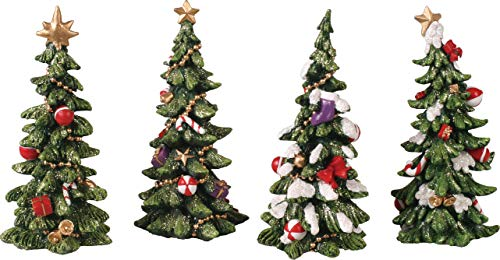 Transpac Resin Holiday Tree Figurine Set of 4