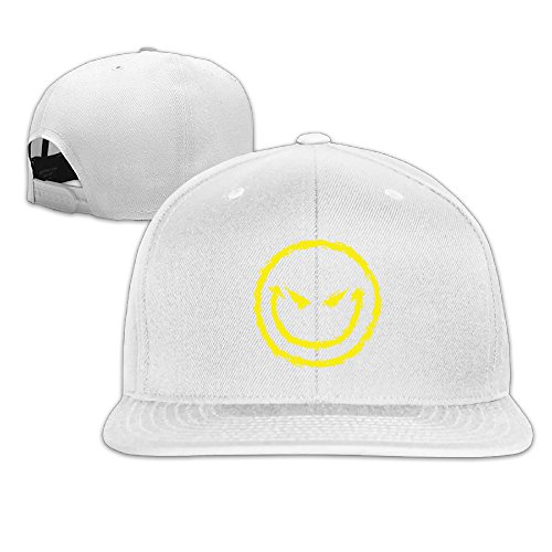 The Internum Cap Cool Evil Smiley Face Funny Snapback Hat Baseball Cap White -