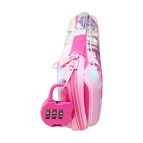 Parteet Multi Purpose Cartoon Printed Pencil Pouch/Case with Pasword Lock for Girls (Pink)