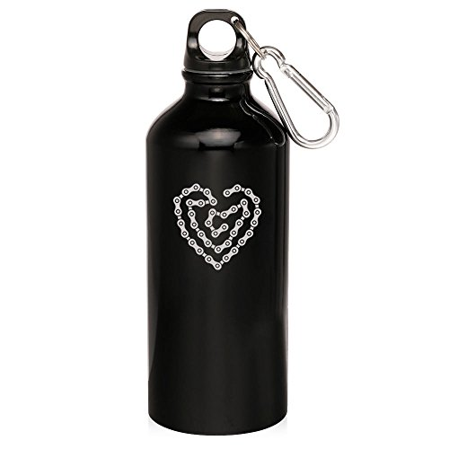Black Heart Love Bike Chain 20Oz Aluminum Sports Water Bottle Canteen Clip Heart Love Bike Chain by Sport bottle