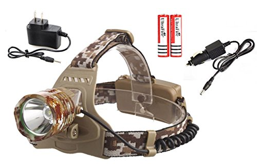 1 Set Heart-stopping Fashionable 5000 Lumen Camouflage CREE XM-L T6 LED Flashlight Headlamp Headlights Ultra Xtreme Tactical Bright Light Hunting Fishing Camping Lights w/ 18650 Battery (Antique Heart Pine)