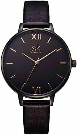 SK Women Watches Leather Band Luxury Quartz Watches Girls Ladies Wristwatch Relogio Feminino (Black)