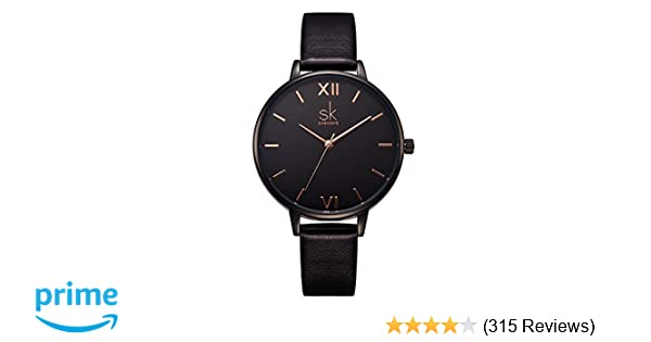 f7d833b870d6a Amazon.com  SK Women Watches Leather Band Luxury Quartz Watches Girls  Ladies Wristwatch Relogio Feminino (K0039-Black)  Watches
