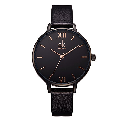 Women Watches Leather Band Luxury Quartz Watches Girls Ladies Wristwatch Relogio Feminino (K0039-Black) (Womens Large Faced Watches)