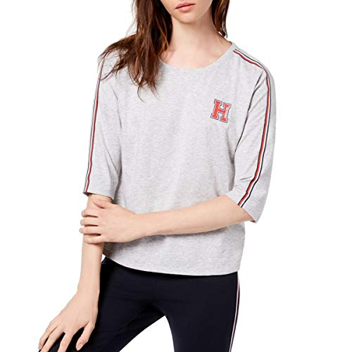 Tommy Hilfiger Womens Heathered Logo T-Shirt Gray XS
