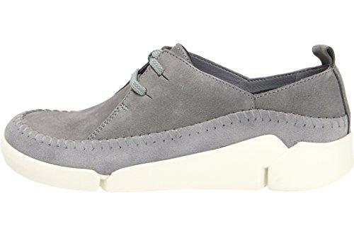 Derby Tri Clarks Grey Angel Zapatos Blue para Gris de Cordones Mujer xfdqXwdA