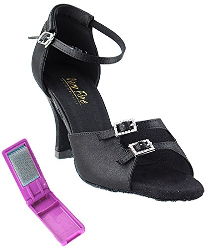 Very Fine Ballroom Latin Tango Salsa Dance Shoes for Women 1620 3-Inch Heel + Foldable Brush Bundle Black Satin Yus0Bx