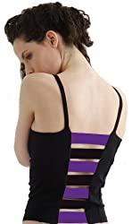 Margarita Activewear Ladder Back Top - Black with Purple Stripes
