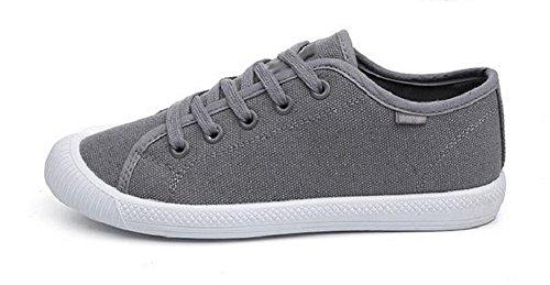 JiYe Women's Canvas Lace Up Walking Shoes Fashion Sneakers,Gray,8 US