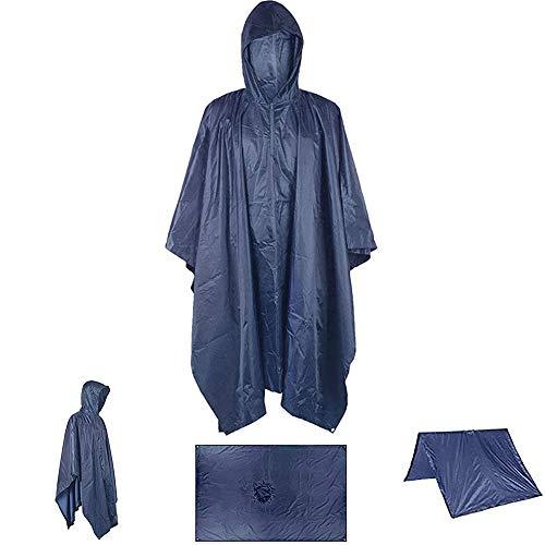 WarmHeaven Heavy Duty Rain Poncho with Hood Zipper Women Men Adult Waterproof Reusable Raincoat Backpacking Travel Hiking Outdoor Event Navy Blue