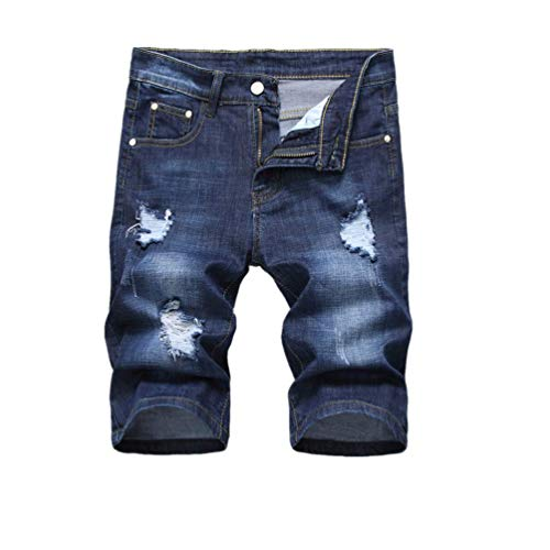 iHPH7 Jeans Shorts Men Rugged Wear Performance Series Relaxed Fit Shorts Five-Cent Jeans for Straight Cylinder Locomotive with Holes Jeans 36 Blue ()