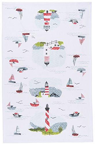 Now Designs Cotton Kitchen Towel, Lighthouses Print
