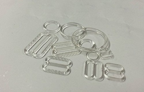 Wholesale Bra Straps - Lyracces Wholesale Lots 1000set Rectangular Figure 8 & 0 Lingerie Adjustment Slider and Rings for Bra Strap Apparel Holder Findings 6-15mm Clear Black White 3color Pick (10mm 0.39in, Clear)