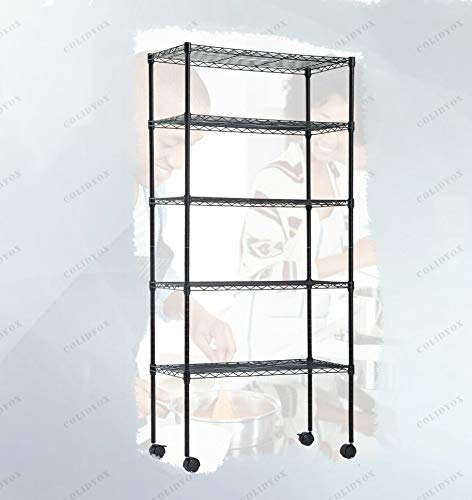 COLIDYOX_5 Tier Wire Shelving,Made of Steel Wire Shelving,Weight Capacity per Shelf is 150lbs,Weight Capacity is 220lbs,Enormous Amount,Kitchen Bedroom Garage,Easy to Assemble ()
