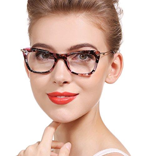 SOOLALA Womens Fashion Designer Cat Eye Eyeglasses Frames with Metal Arms