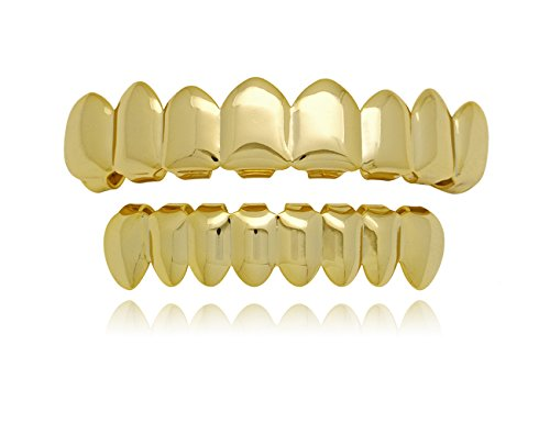 LuReen Universal 14k Gold Shiny Hip Hop Teeth Grillz 8 Top and 8 Bottom Grills Set (Gold) -