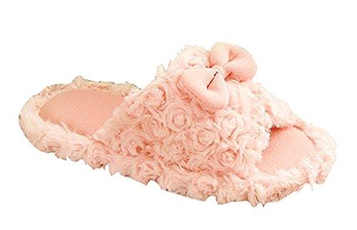Pantofole Da Donna Cattior Furry Open Toe Pantofole Rosa