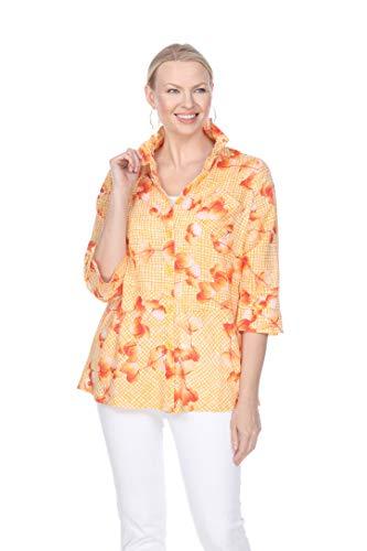 Terra-Sj Apparel Women's 3/4 Sleeve Blouse with Convertible Collar Orange