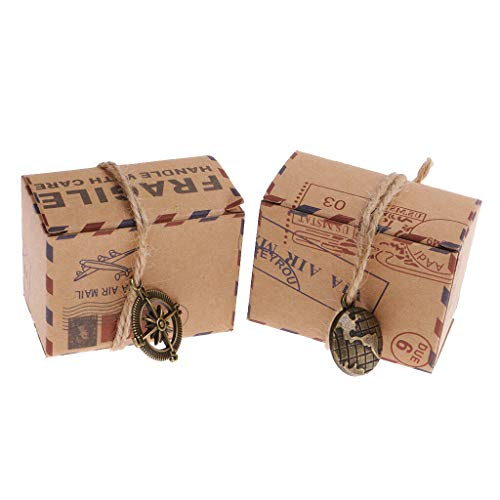 BROSCO 50pcs Eco Kraft Natural Gift Boxes Wedding Favour Includes String Pendnat ()
