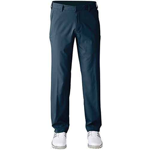 2016 Adidas Puremotion Stretch 3-Stripes Pants Mens Golf Flat Front Trousers Mineral Blue 34x30