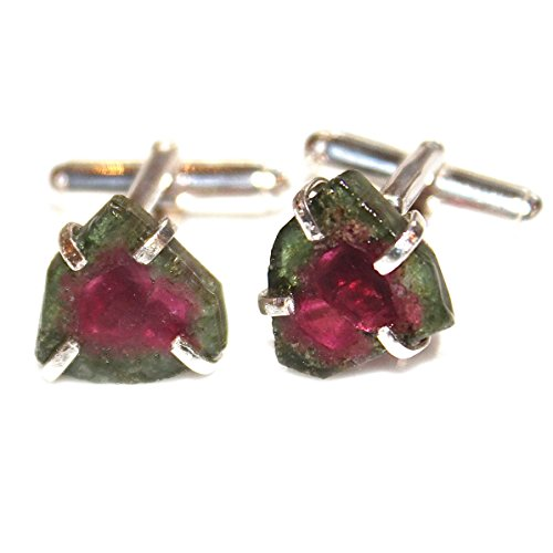 Watermelon Tourmaline Cuff Link in Sterling SIlver by FizzCandy Jewelry