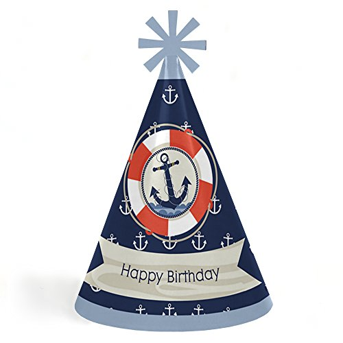 Ahoy - Nautical - Cone Happy Birthday Party Hats for Kids and Adults - Set of 8 (Standard Size)