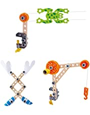 Hape Three Experiment Kit | Junior Inventor Kids Physics Mechanical Crane, Grabber & Climbing Frog Play Set for Children Aged Four & Up