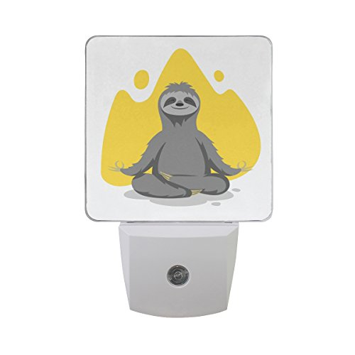 Naanle Set Of 2 Happy Cute Sloth Do Yoga Lotus Pose Meditation Yellow Paint Print Mountain Shape On White Auto Sensor LED Dusk To Dawn Night Light Plug In Indoor for Adults by Naanle