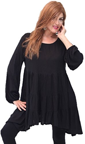 Lotustraders Blouse Shirt Baby Doll Empire Tiers Black 5X R742