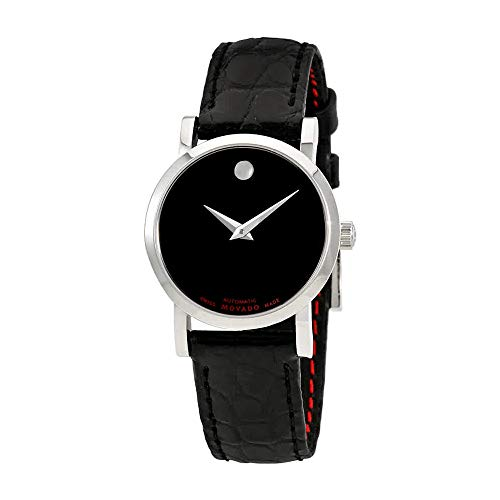 (Movado Women's Stainless Steel Swiss-Automatic Watch with Leather-Alligator Strap, Black, 10 (Model: 0607009)