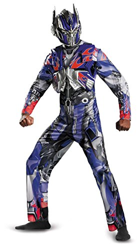 Disguise Men's Hasbro Transformers Age Of Extinction Movie Optimus Prime Deluxe Costume, Blue/Red, X-Large/42-46 (Optimus Prime Halloween Costume Adults)