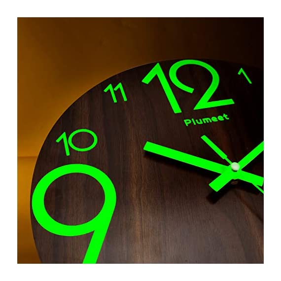 Plumeet Luminous Wall Clocks - 12'' Non-Ticking Silent Wooden Clock with Night Light - Large Decorative Wall Clock for Kitchen Office Bedroom (Wood) - GLOWING CLOCK ADVANTAGE -- Night lights function & long light up time, super quiet & non-ticking, big numbers perfect for the elderly or the visually restricted people. INCREDIBLE LUMINOUS TIME -- Light up more than 3 hours if clock receives enough sunlight at day, Four extra large numbers makes it easier to read at night. ANALOG SILENT CLOCK -- Precise quartz movements to guarantee accurate time, sweeping movement ensure a good sleeping and work environment. Made of wood, rich in rustic features. - wall-clocks, living-room-decor, living-room - 41CIqDCA bL. SS570  -