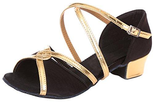 Abby 618 Donna Elegante Alla Moda Spirito Traspirante Tempo Libero Peep Toe Tacco Basso Scarpe Da Ballo Latino Nero