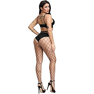 WEANMIX Lace Patterned Tights Fishnet Stockings Pattern Pantyhose (Black - Big Hole) at Women's Clothing store