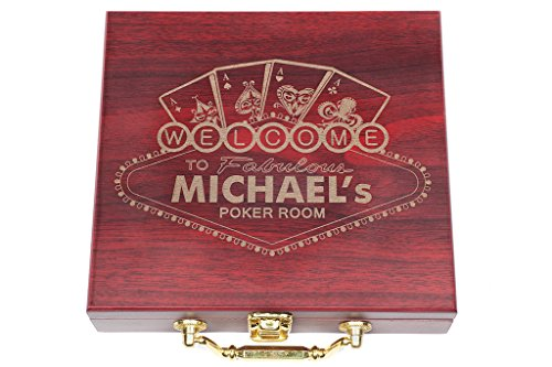 (Personalized Poker Gift Set, Custom Engraved Poker Game Box, w/Poker Chips /w Poker Cards, engraved Rosewood Case, Birthday, Fathers Day)