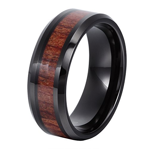 8mm Flat Beveled Tungsten Ring Wood Inlay Wedding Bands Black Plated Couple Rings Mens Womens Tungsten Bands by...