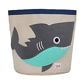 3 Sprouts Canvas Storage Bin - Laundry and Toy Basket for Baby and Kids, Shark
