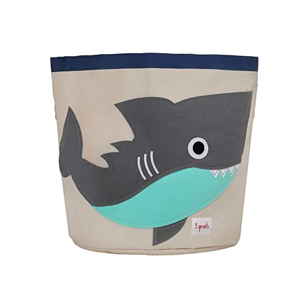 3 Sprouts Canvas Storage Bin – Laundry and Toy Basket for Baby and Kids, Shark