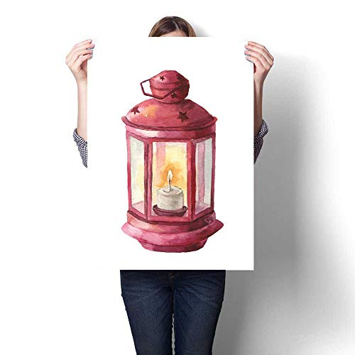 The Picture For Home Decoration Watercolor traditional red lantern with candle Hand painted Christmas lantern on white background for design print Party decor Canvas Art Posters Prints Wall Art 20